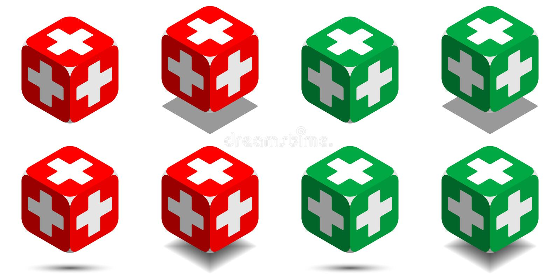 Sześcian z medycznym krzyżem w czerwonych i zielonych kolorach, isometric sześcian zdrowie ilustracja wektor