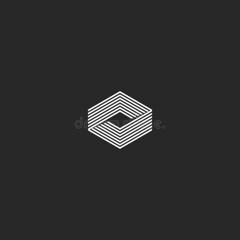 Sześcianu logo isometric, nieskończoność kształta geometryczny złudzenie, modnisia monogram nieskończony cienieje kreskowego inno ilustracji