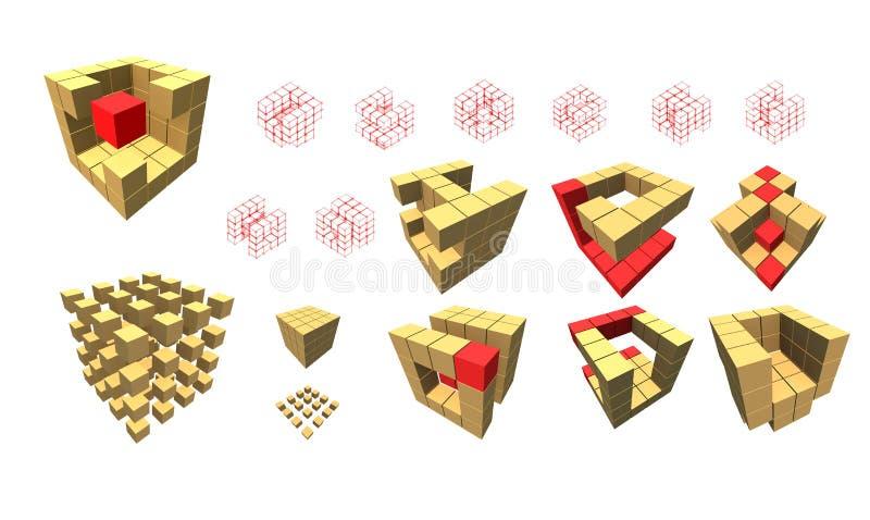 sześcianu logo składa set ilustracja wektor