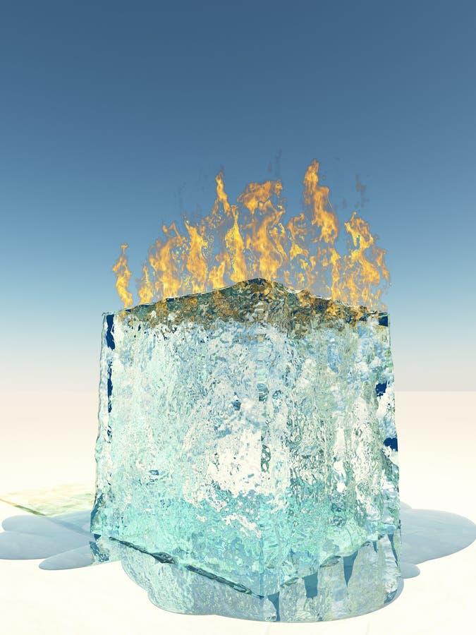 sześcianu płonący lód royalty ilustracja
