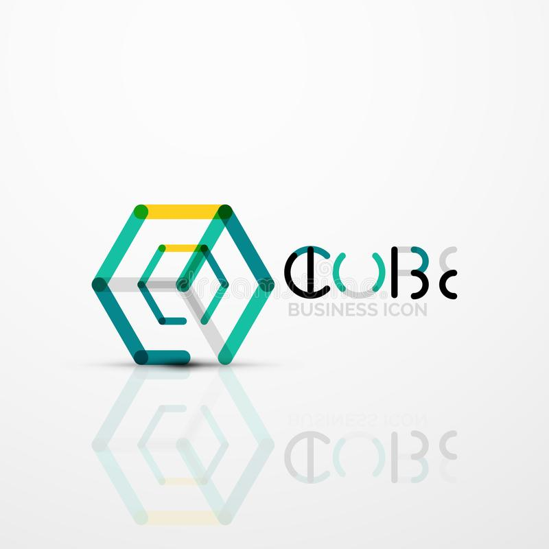 Sześcianu pomysłu pojęcia logo, linia ilustracji