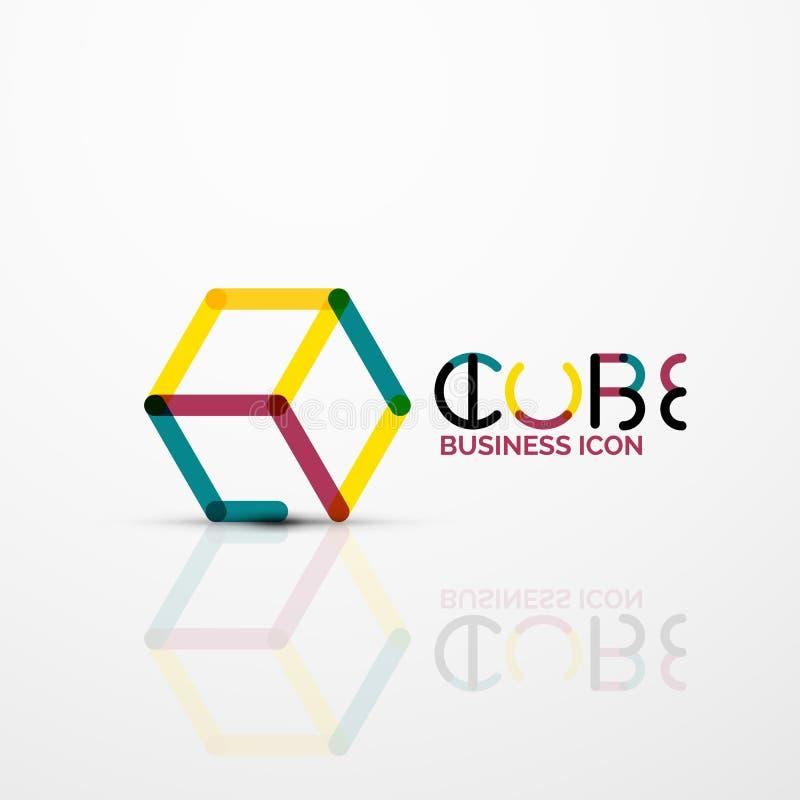 Sześcianu pomysłu pojęcia logo, linia royalty ilustracja