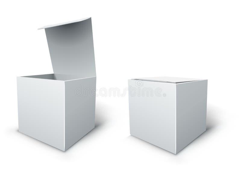 Sześcianu pudełkowaty szablon. ilustracji