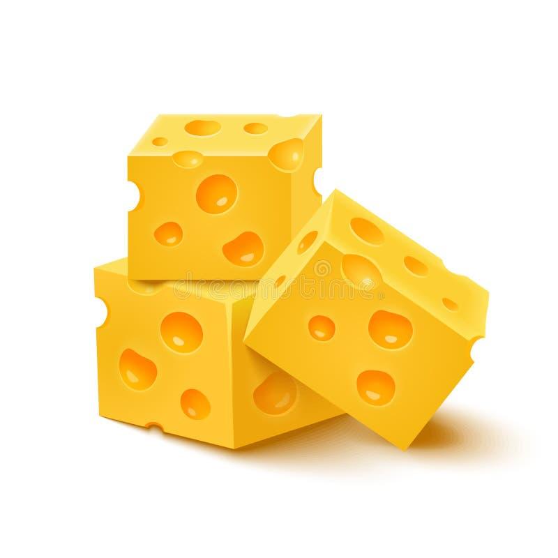 Sześciany żółty ser na białym tle royalty ilustracja