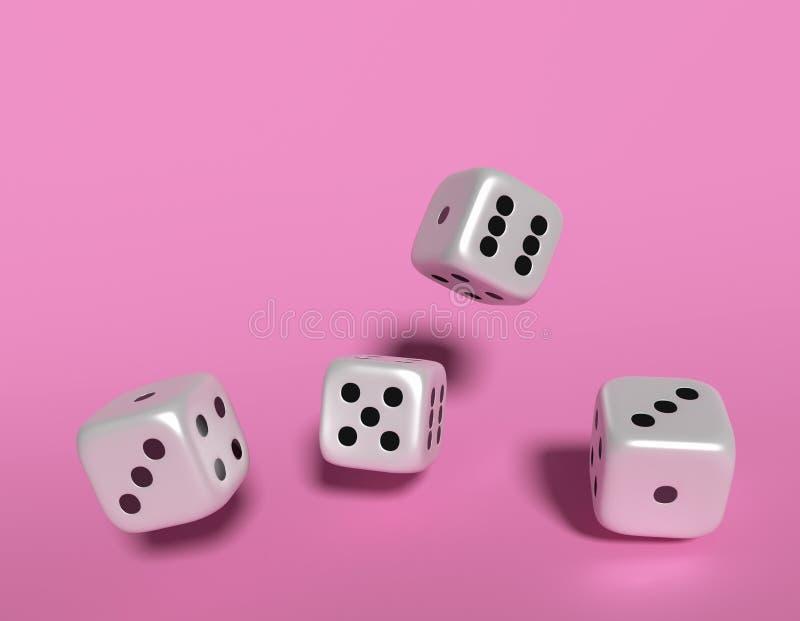 Sześciany dices 3D rendering na różowym tle zdjęcie royalty free