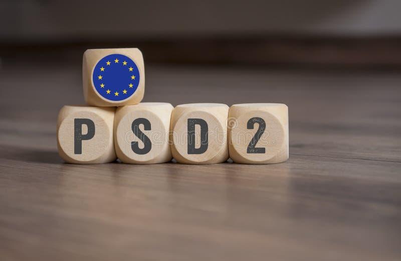 Sześciany i kostki do gry z PSD2 - zapłat usługi Directive2 zdjęcie stock