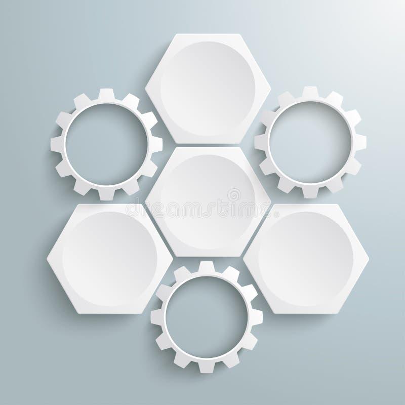 3 sześciokątów 3 przekładni Biały cykl ilustracja wektor