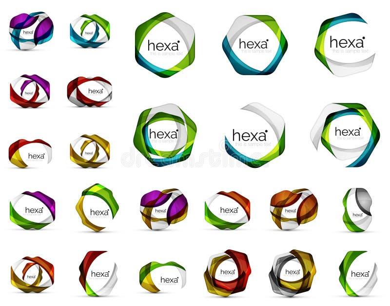 Sześciokąt ikony Geometryczni gatunek firmy logotypu emblematy, abstrakcjonistyczna biznesowa tożsamość kształtują ilustracji