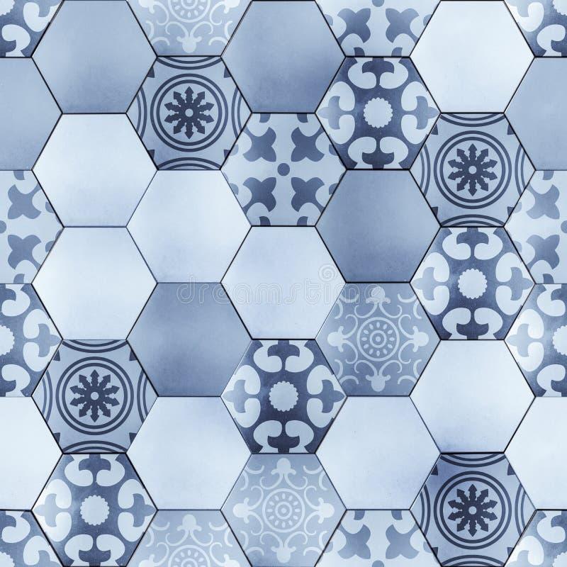 Sześciokąt podłoga z Provence wzoru teksturą ilustracja wektor