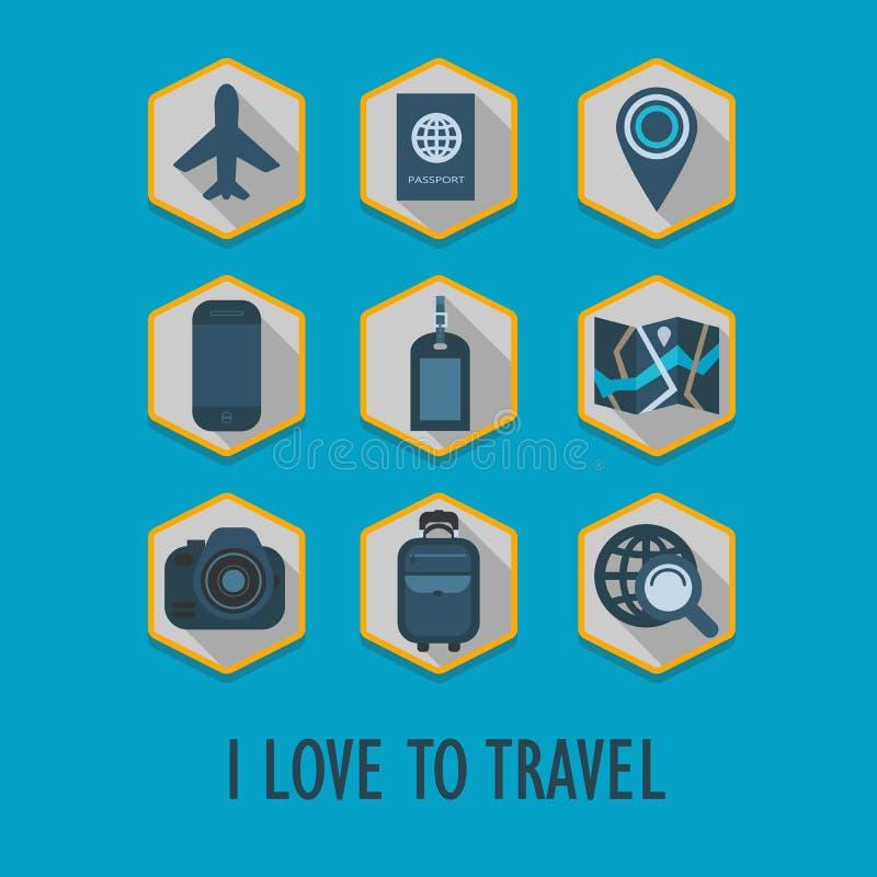 Sześciokąt podróży ikony ustawiać z długim cieniem ilustracja wektor