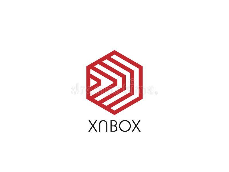 sześciokąt przednia pudełkowata strzała abstrakcjonistyczny wieloboka loga szablon logistycznie doręczeniowy kurier przewiezionej royalty ilustracja