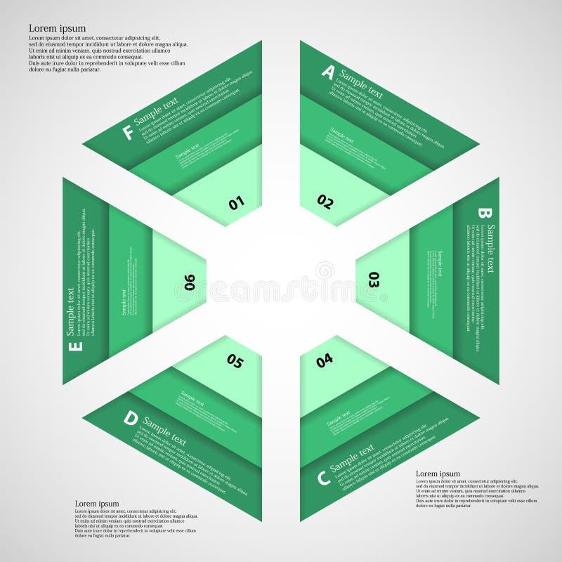 Sześciokąt składał się trzy zielonego faborku royalty ilustracja