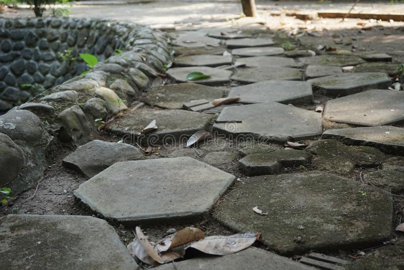 Sześciokąta brukowania bloku drogi ulica zdjęcie royalty free