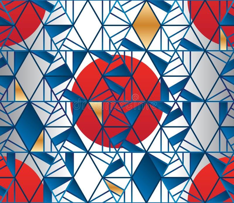 Sześciokąta kreskowego stylu Japonia słońca tkaniny bezszwowy wzór ilustracja wektor