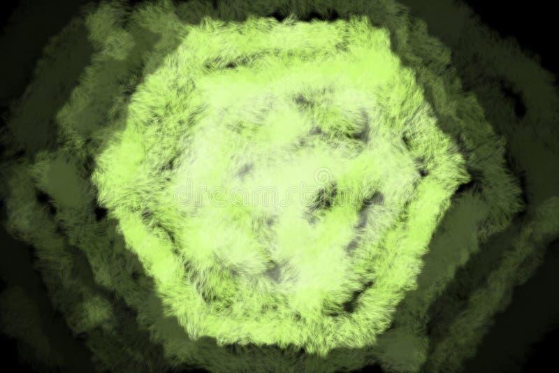 Sześciokąta kształt w Neonowej zieleni z fading nieprzezroczystości tłem - Abstrakcjonistyczna Cyfrowej Ilustracyjna tapeta, Text ilustracja wektor