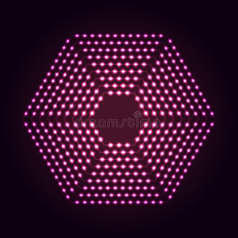 Sześciokąta kształta neonowych świateł abstrakcjonistyczny tło royalty ilustracja