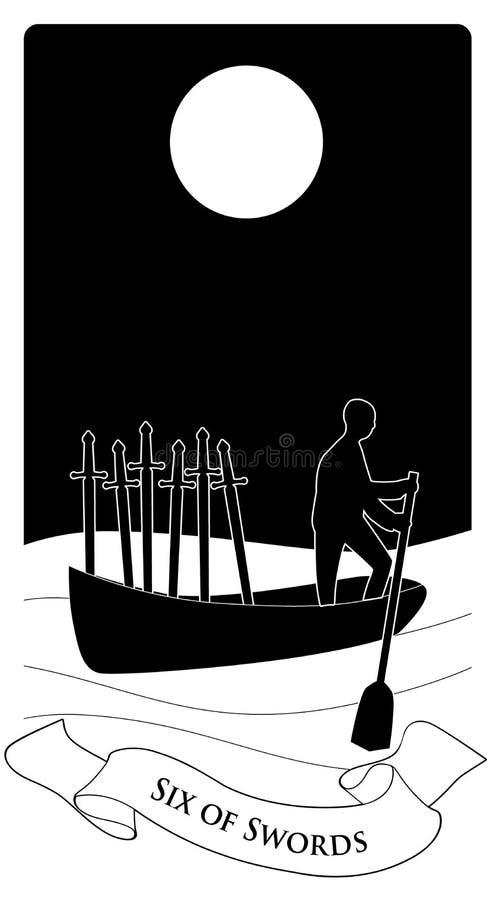Sze?? kordziki Sylwetka osoby wioślarstwo w odległości w łodzi na morzu, przewożenie sześć kordzików ilustracja wektor