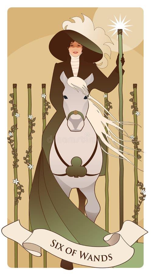 Sze?? r??d?ki karty tarota Elegancka dama na horseback, trzyma różdżkę z świecącą gwiazdą i flankującą pięć różdżkami ilustracja wektor