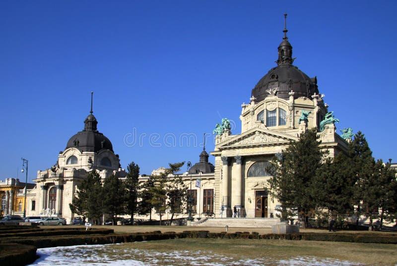 Szechenyi热量巴恩布达佩斯,匈牙利 免版税图库摄影