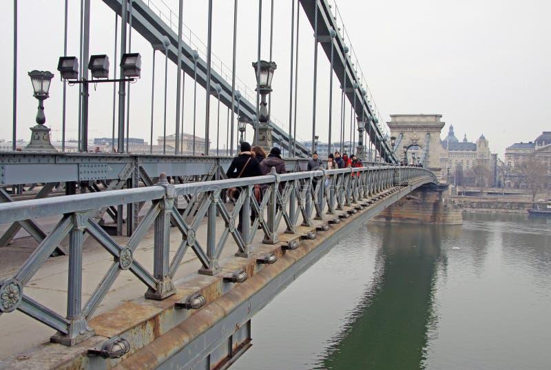 从Szechenyi铁锁式桥梁在四季酒店,布达佩斯的看法 免版税库存图片