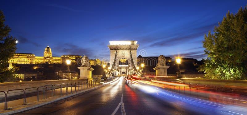 Szechenyi铁锁式桥梁,布达佩斯。 免版税图库摄影