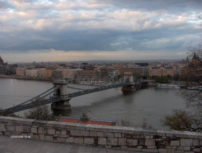 Szechenyi Bridge in Budapest royalty free stock photos
