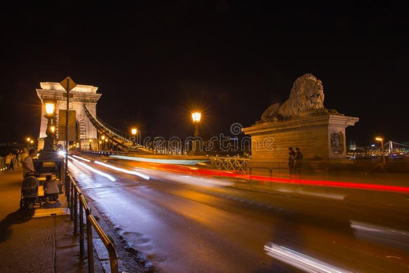Szechenyi bro i den Budapest Ungern Härliga Danube River förtöjd sikt för nattportship arkivbild
