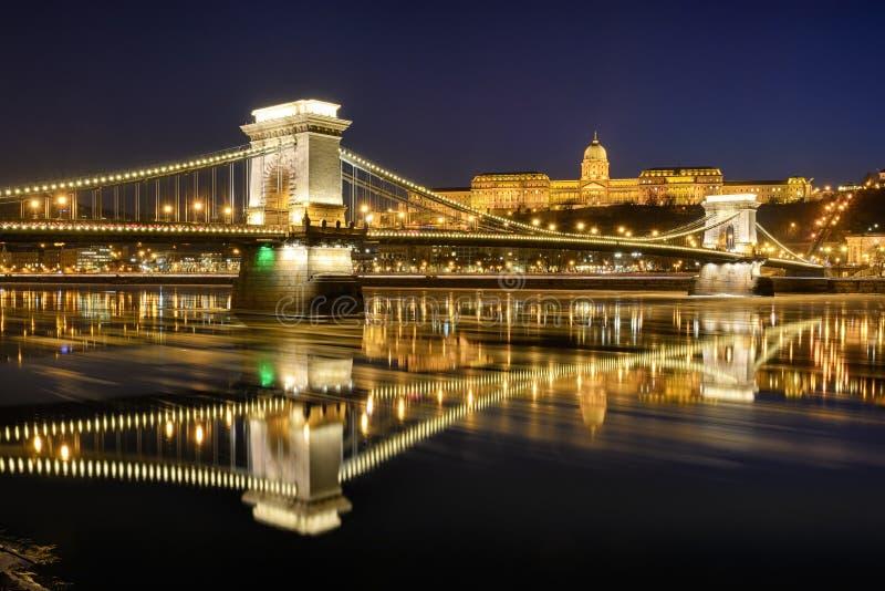 Szechenyi chain bridge against Buda Castle stock images