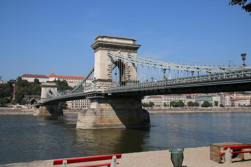 Szechenyi Chain Bridge budapest stock photo