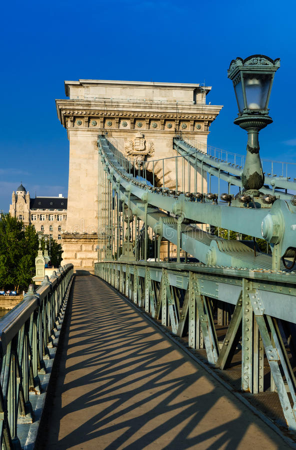 Szechenyi Chain Bridge, Budapest. The Szechenyi Chain Bridge is a suspension bridge that spans the River Danube between Buda and Pest royalty free stock images