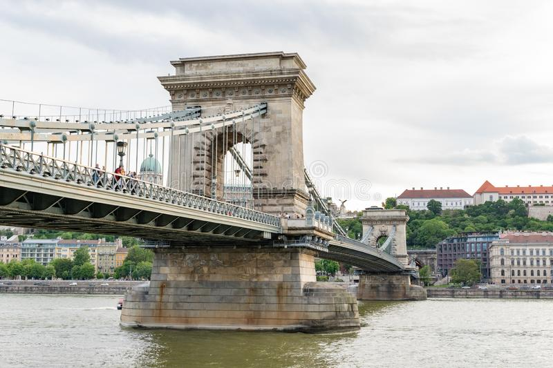 Szechenyi or Chain Bridge in Budapest capital city of Hungary.  royalty free stock image