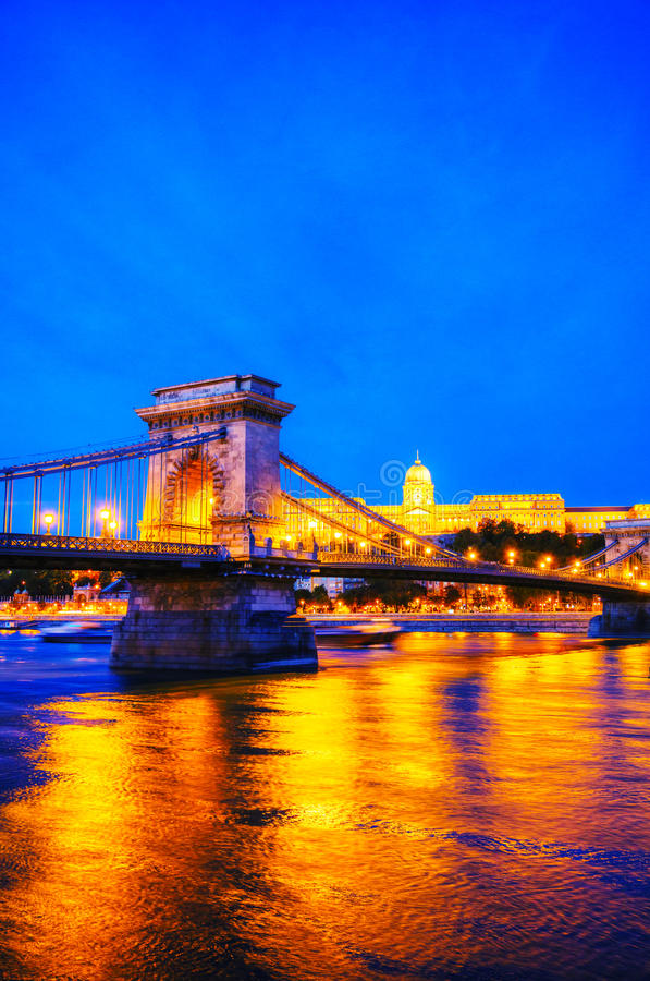 Szechenyi chain bridge in Budapest, Hungary. At the night time royalty free stock photo
