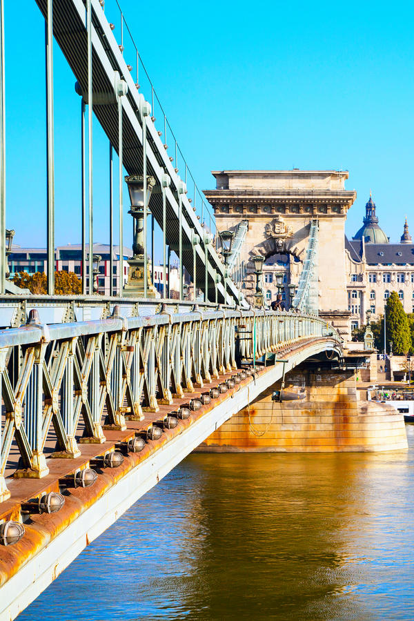 The szechenyi chain bridge on Danube river, Budapest royalty free stock photo