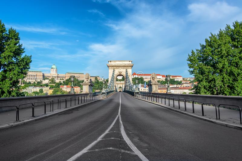 Szechenyi Chain Bridge and National Gallery. Beautiful view of the Szechenyi Chain Bridge in Budapest, Hungary royalty free stock image
