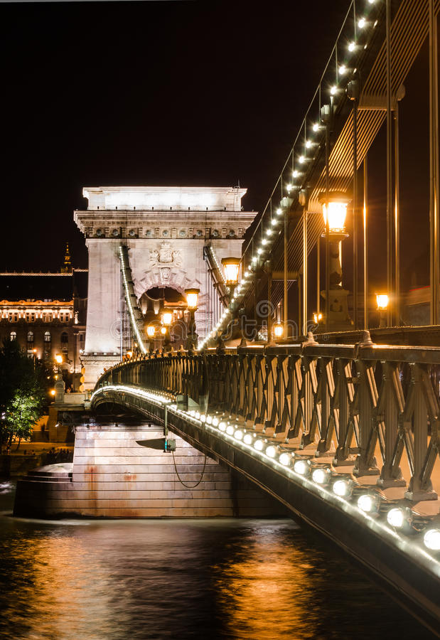 Szechenyi Chain Bridge night detail, Budapest. The Szechenyi Chain Bridge is a suspension bridge that spans the River Danube in Budapest, Hungary royalty free stock image