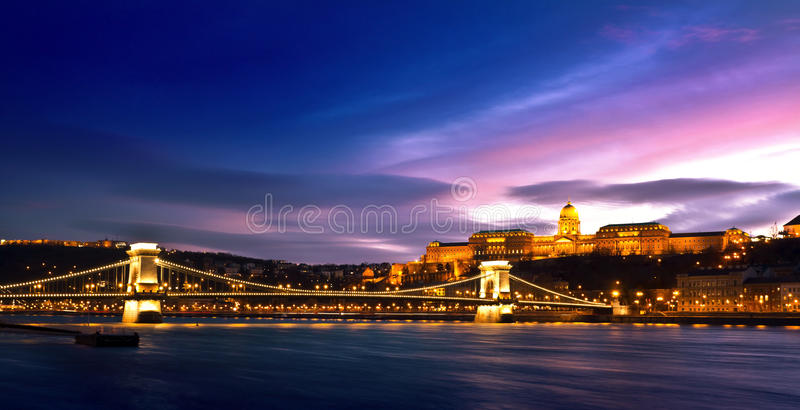 Szechenyi Chain Bridge and Royal Palace. Hungarian landmarks, Chain Bridge, Royal Palace and Danube river in Budapest at night stock images