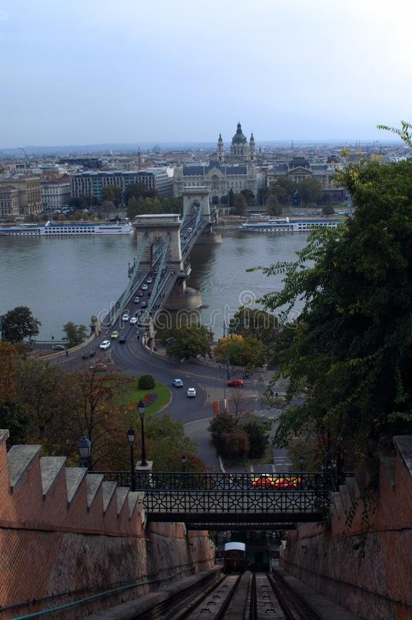 The Szechenyi Chain Bridge is a suspension bridge that spans the River Danube between Buda and Pest. The western and eastern sides of Budapest, the capital of stock photography