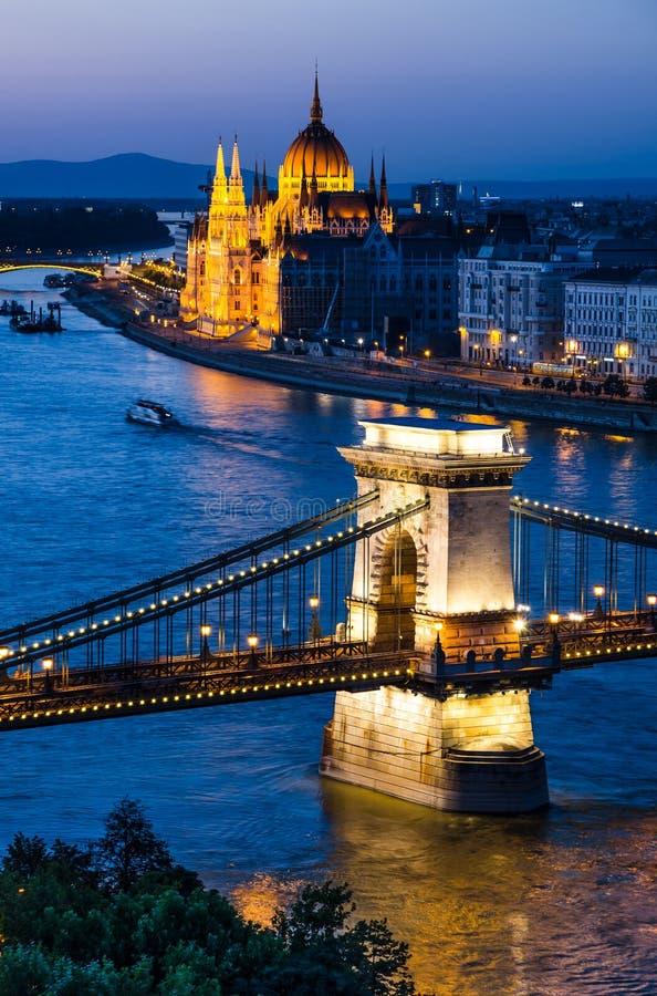 Szechenyi Chain or Lanchid bridge, Budapest and Parliament stock photography