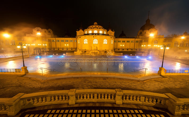 Szechenyi spa bath, Budapest, Hungary. Szechenyi Medicinal Bath is the largest medicinal bath in Europe stock images