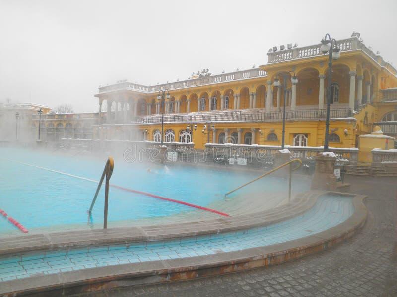 Szechenyi termiskt bad i Budapest, Ungern royaltyfria foton