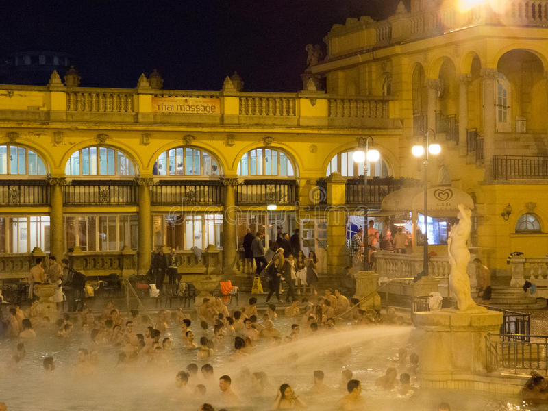 Szechenyi Thermal Bath, Outdoor Pool royalty free stock photos