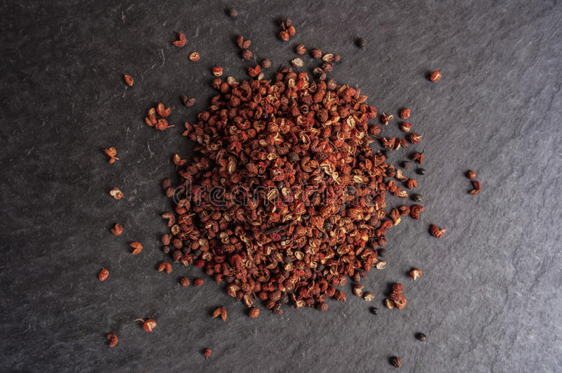 Szechuan peppercorns - Sichuan pepper. Seeds royalty free stock image