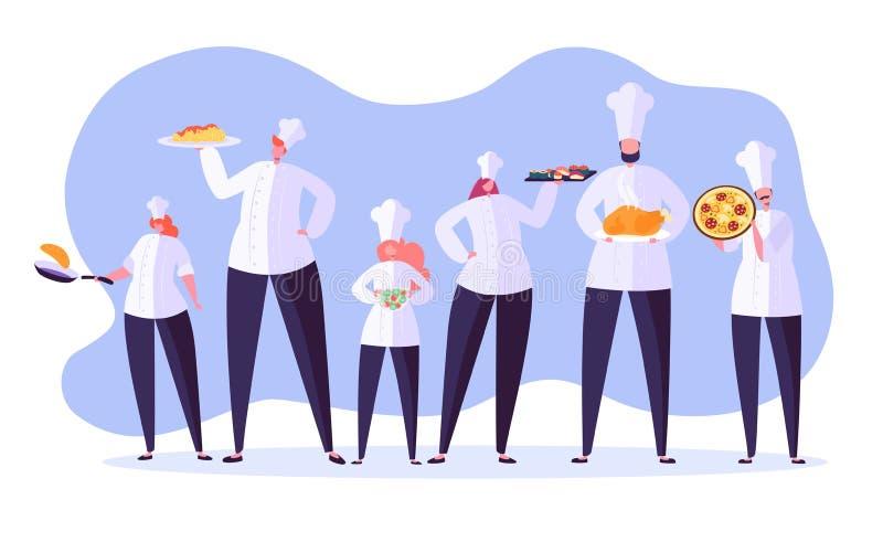 Szefów kuchni charaktery Kreskówki naczelna kulinarna restauracja ilustracja wektor