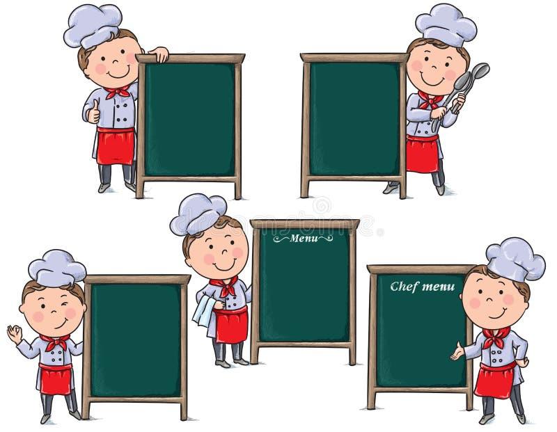 Szefów kuchni dzieci z menu deską ilustracji