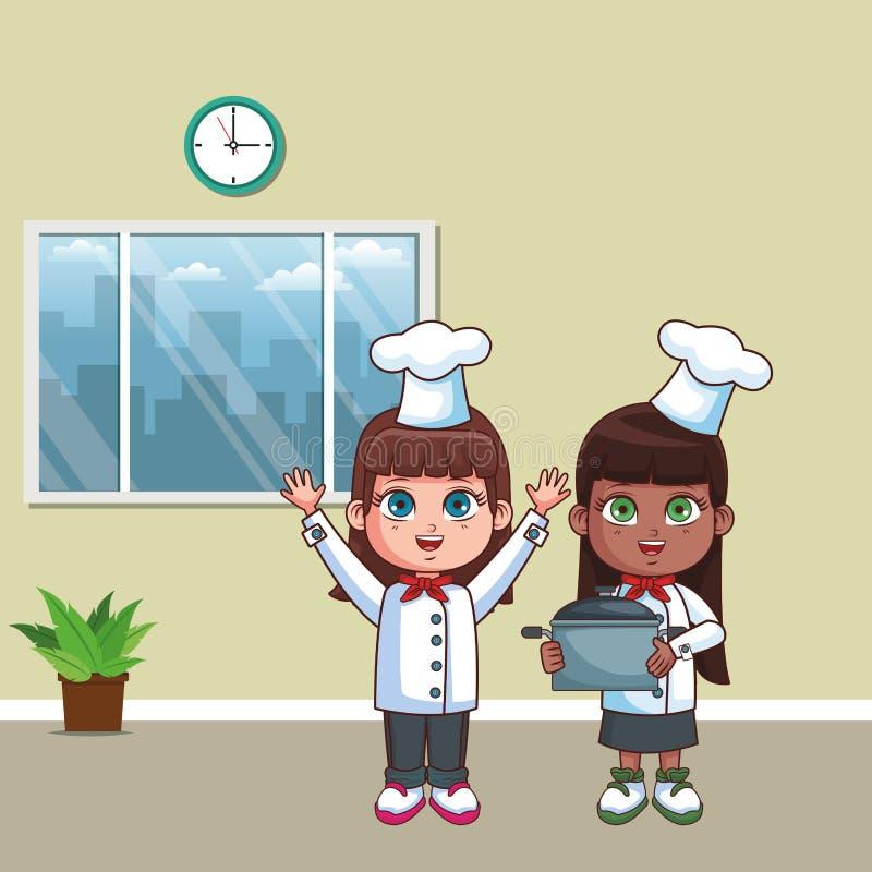 Szefów kuchni dzieciaków kreskówka royalty ilustracja