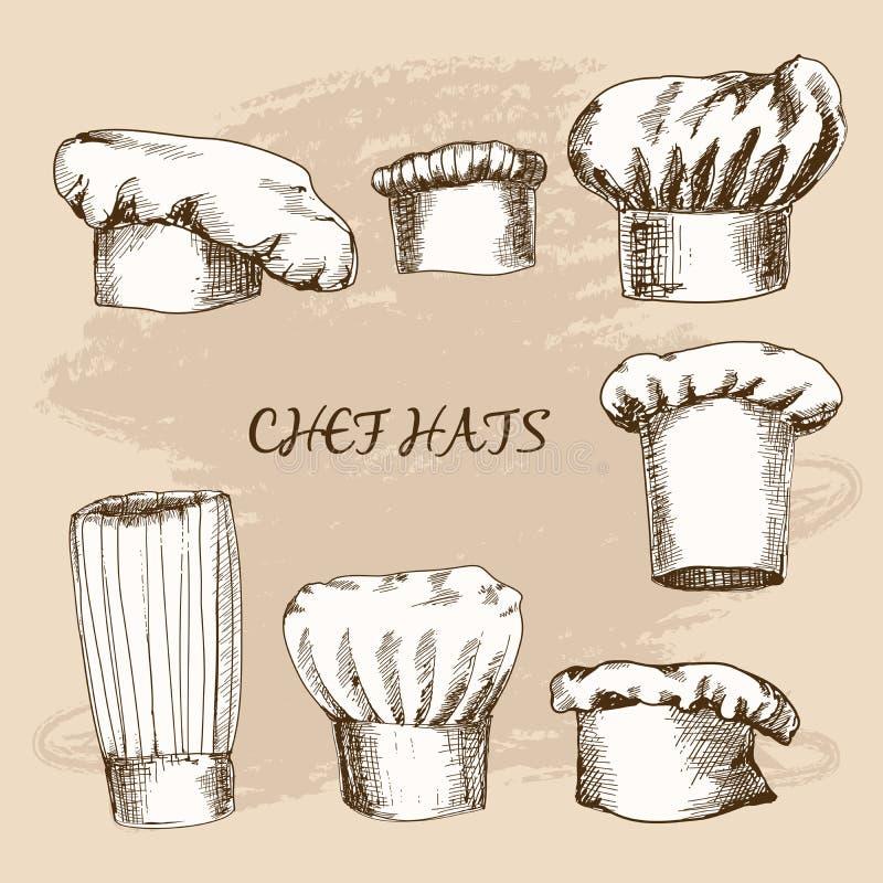 Szefów kuchni kapelusze ilustracja wektor
