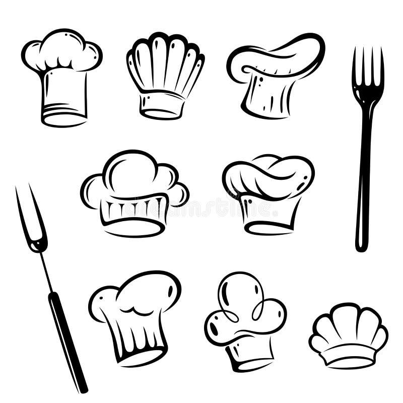 Szefów kuchni kapelusze, kucharz ilustracji