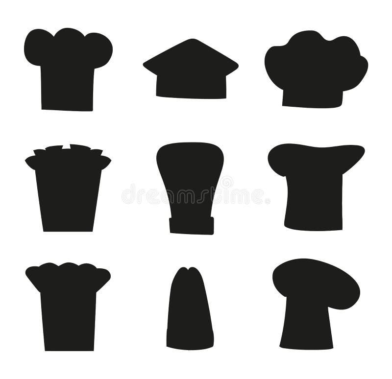 Szefów kuchni kapeluszy konturu nakreślenia, set Czarny szefa kuchni kapelusz ilustracji