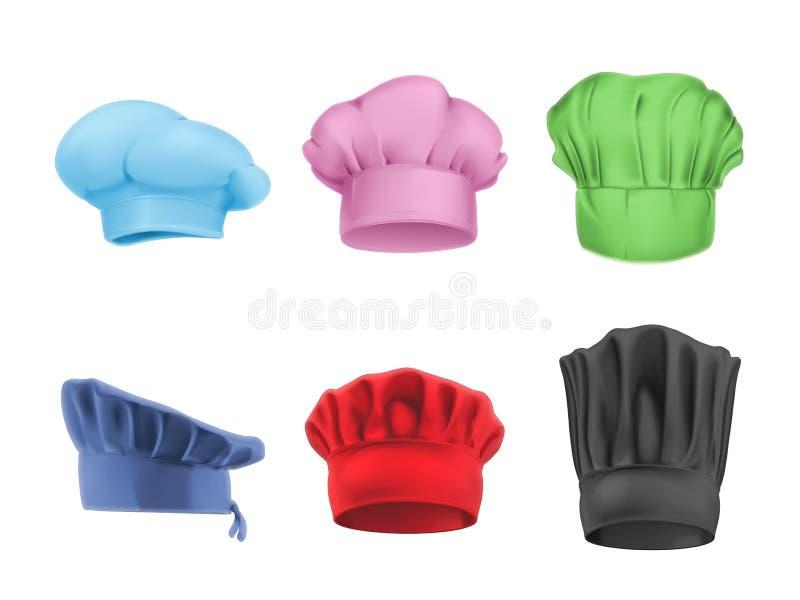 Szefów kuchni stubarwni kapelusze ilustracji