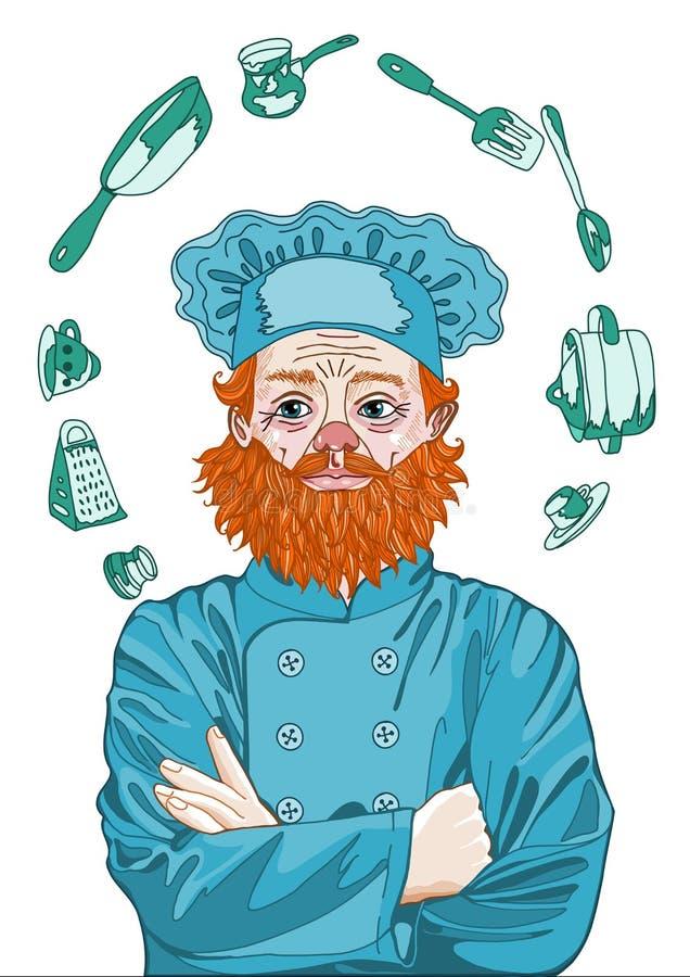 Szef Cook, Mistrzowski szef kuchni Myśleć o kucharstwie z Jego rękami Krzyżuje fotografia stock